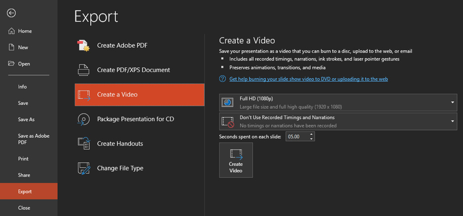 export PowerPoint as video