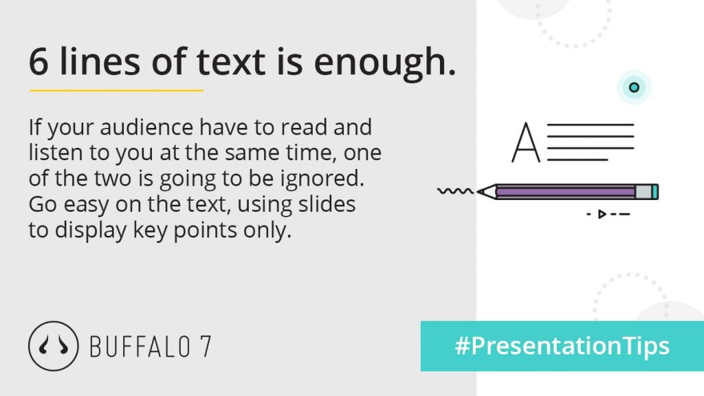6 lines of text for each PowerPoint slide