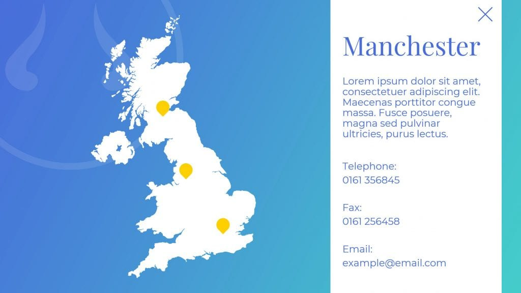 Location information on PowerPoint slide - Manchester