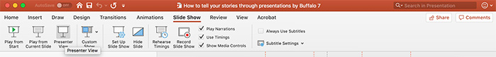 Slide Show tab on PowerPoint ribbon