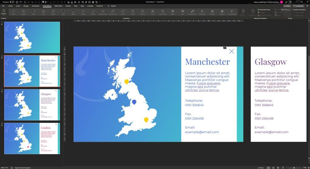 Manchester map PowerPoint slide