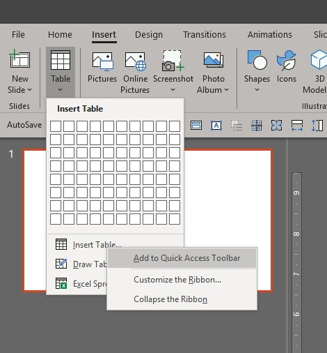 Add to Quick Access Toolbar PowerPoint
