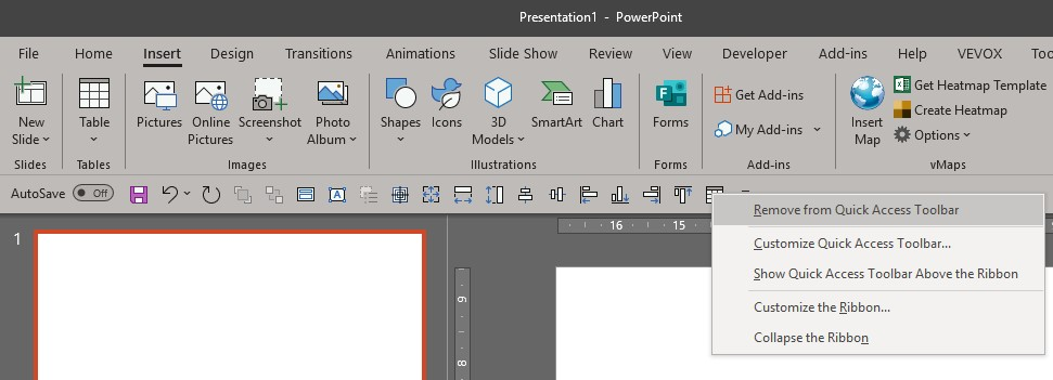 Remove from Quick Access Toolbar PowerPoint