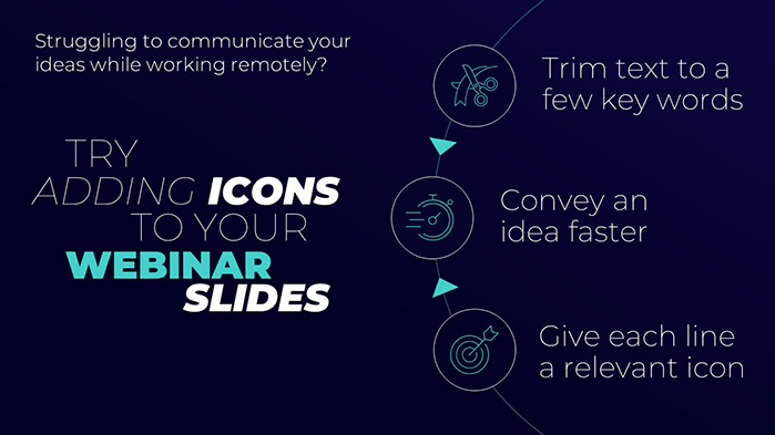 Add icons to your webinar slides