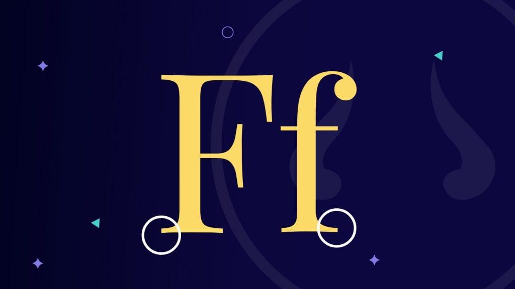 Serif font letter F