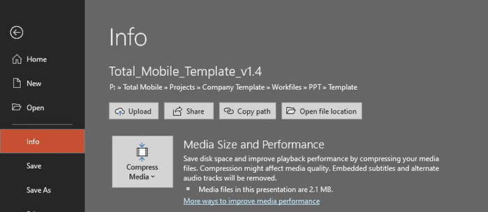 compress media files and video in PowerPoint