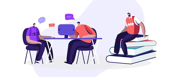 conversation around a computer
